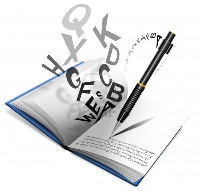 10877445-livre-ou-un-cahier-avec-un-crayon-qui-ecrit-des-lettres-dispersees