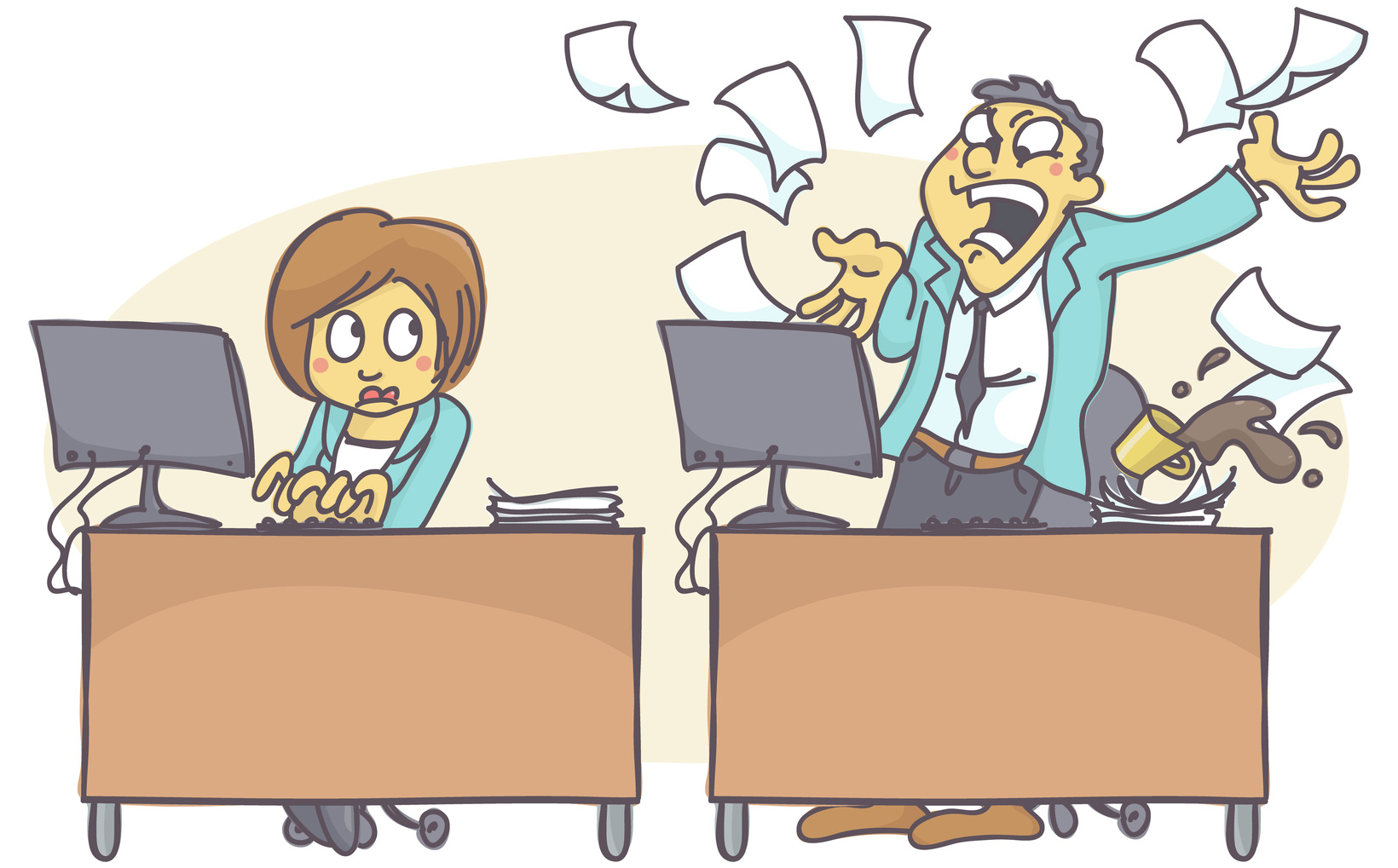 Cartoon illustration of bad coworker situation at work. Woman wo